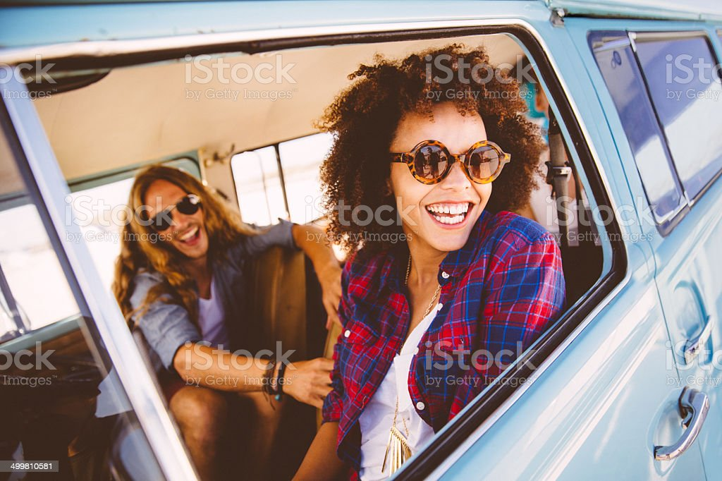 Friends in camper van stock photo
