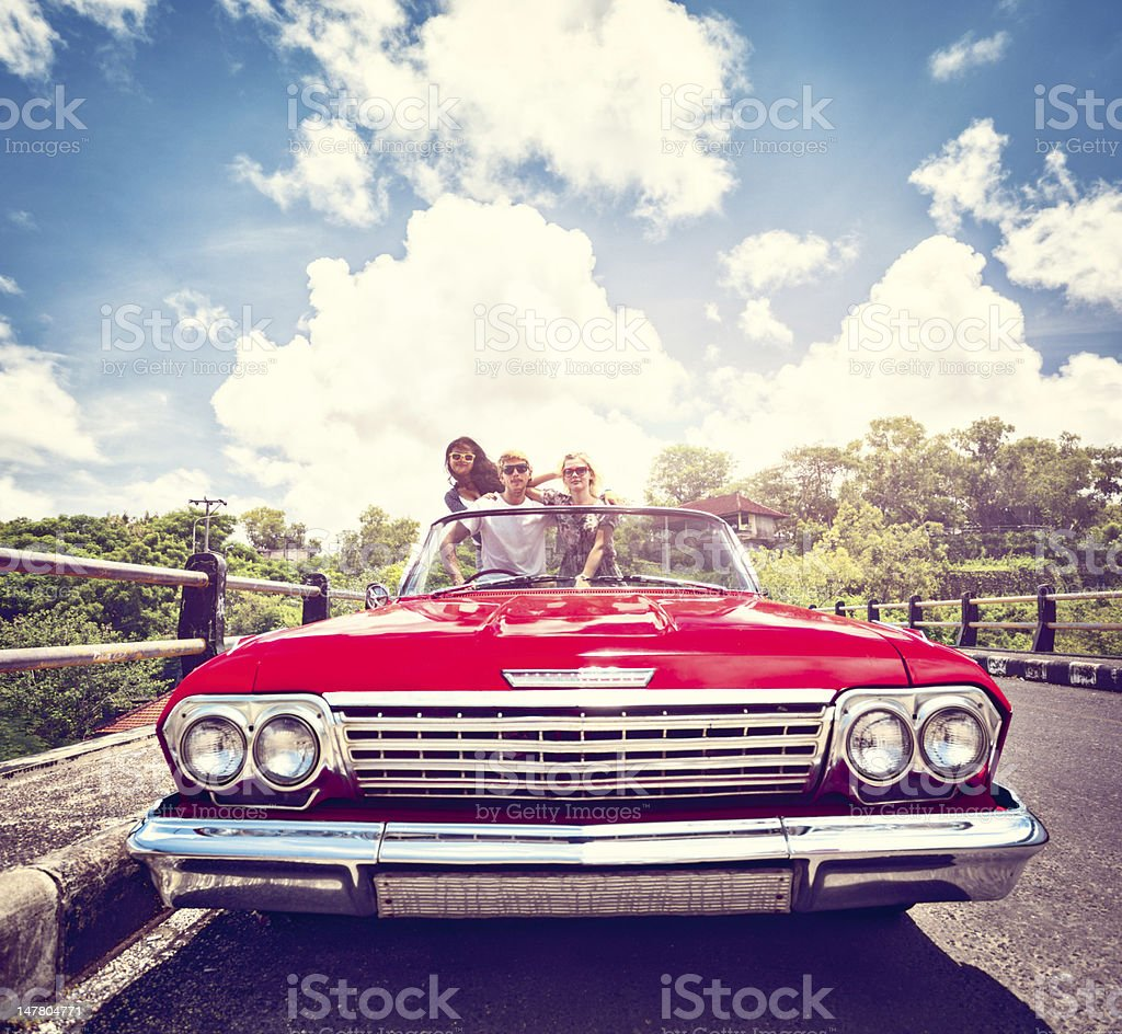 Friends in car royalty-free stock photo