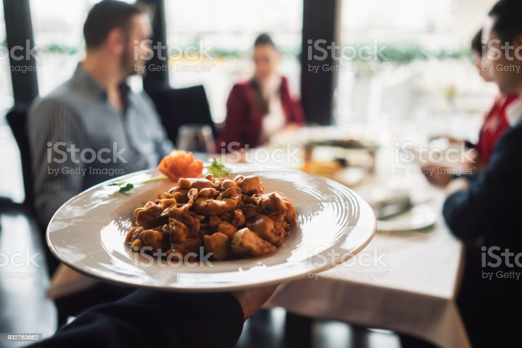 Friends in Chinese restaurant stock photo