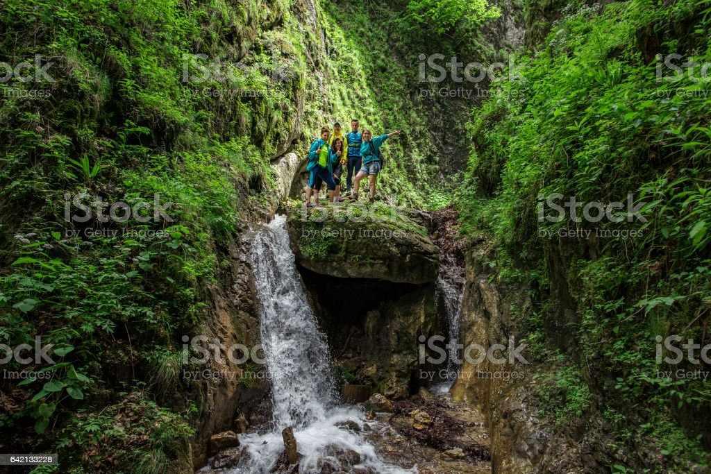 friends in forest adventure stock photo