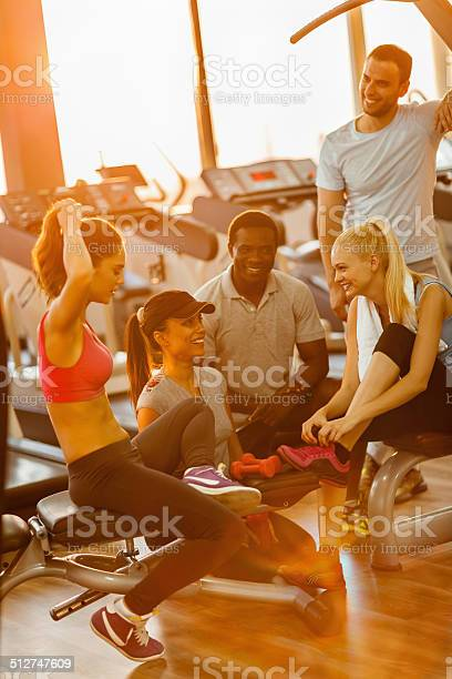 Friends In Gym Stock Photo - Download Image Now