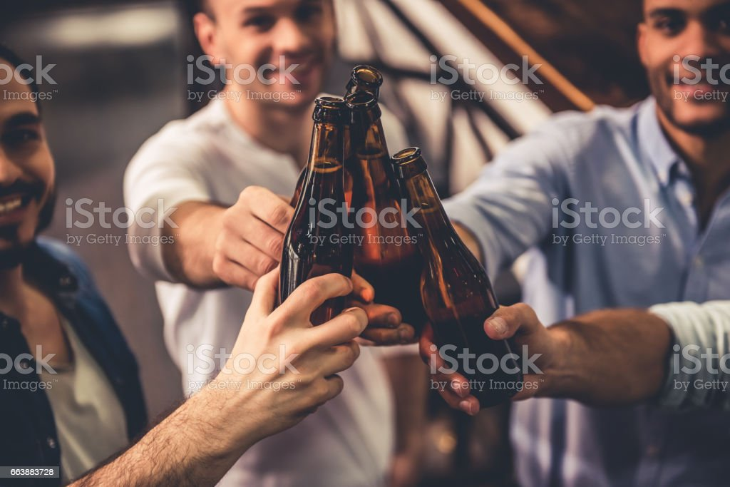 Friends in pub stock photo