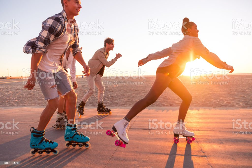 Friends in Santa Monica - Los Angeles having fun on the promenade stock photo