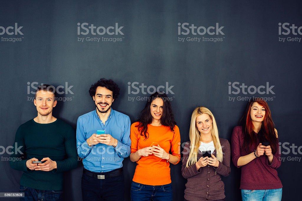 Amigos en concepto de red Social foto de stock libre de derechos