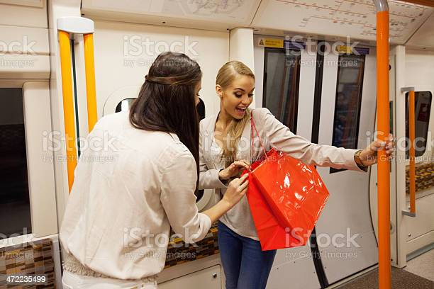 Friends In Subway Stock Photo - Download Image Now