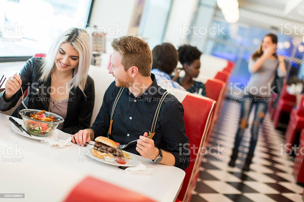 Friends in the diner stock photo