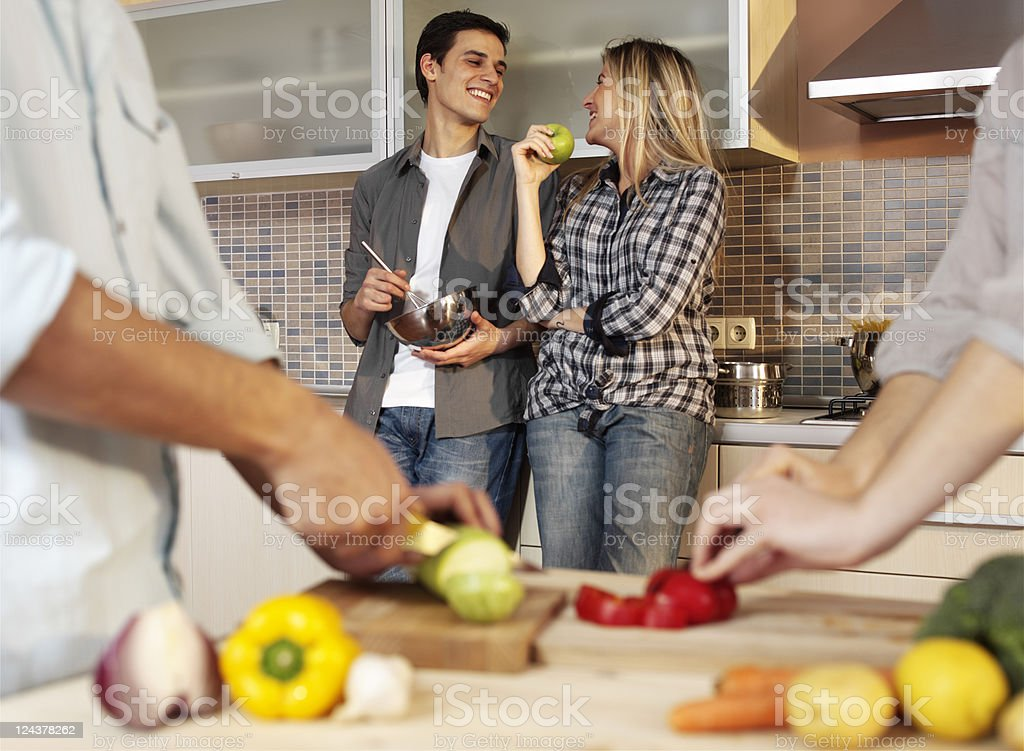 friends in the kitchen royalty-free stock photo