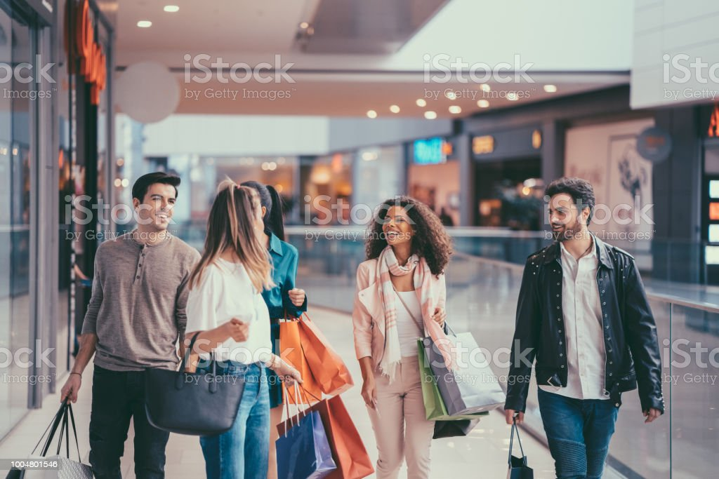 Friends in the Mall stock photo
