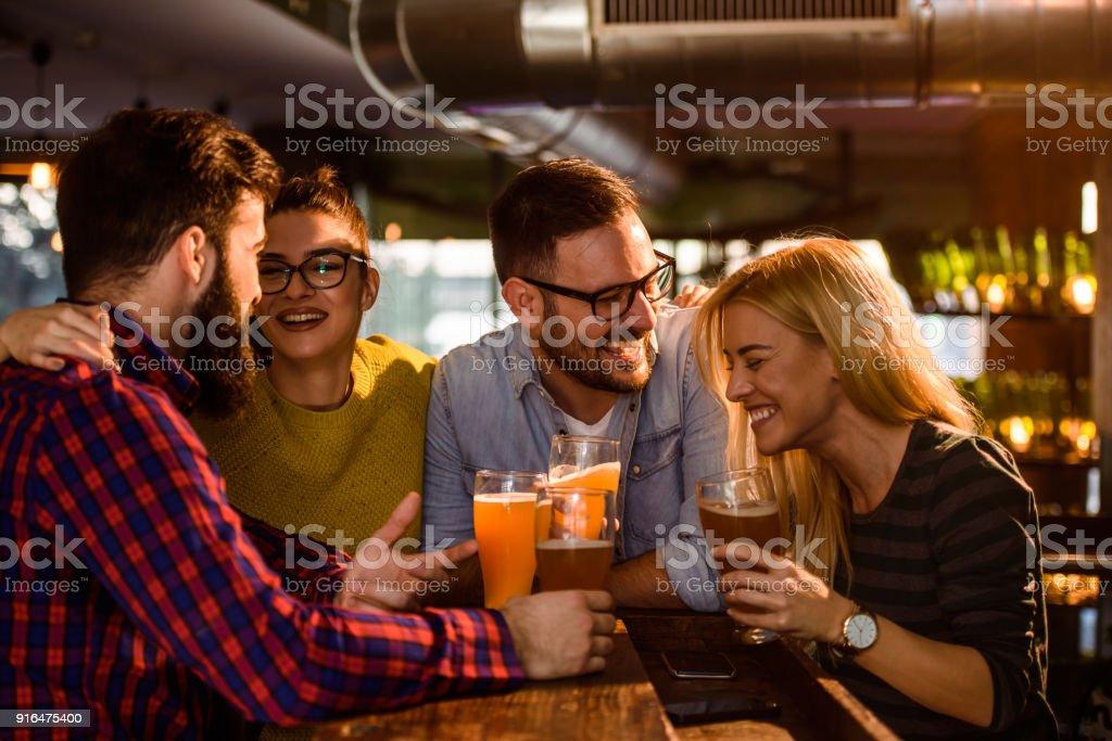 Friends in the Pub stock photo