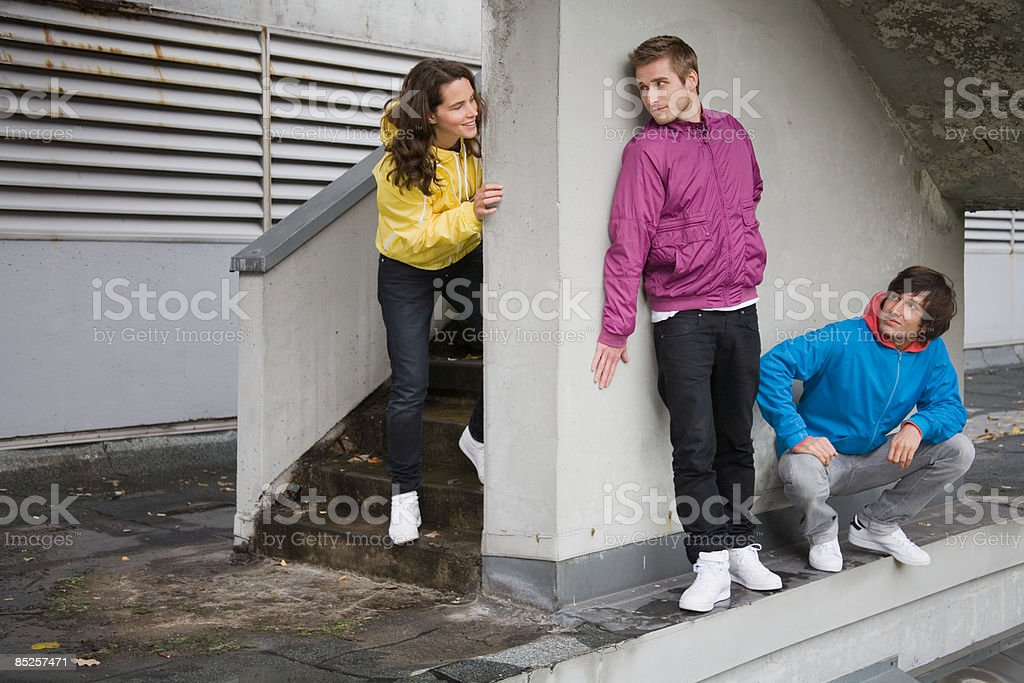 Friends in urban setting royalty-free stock photo