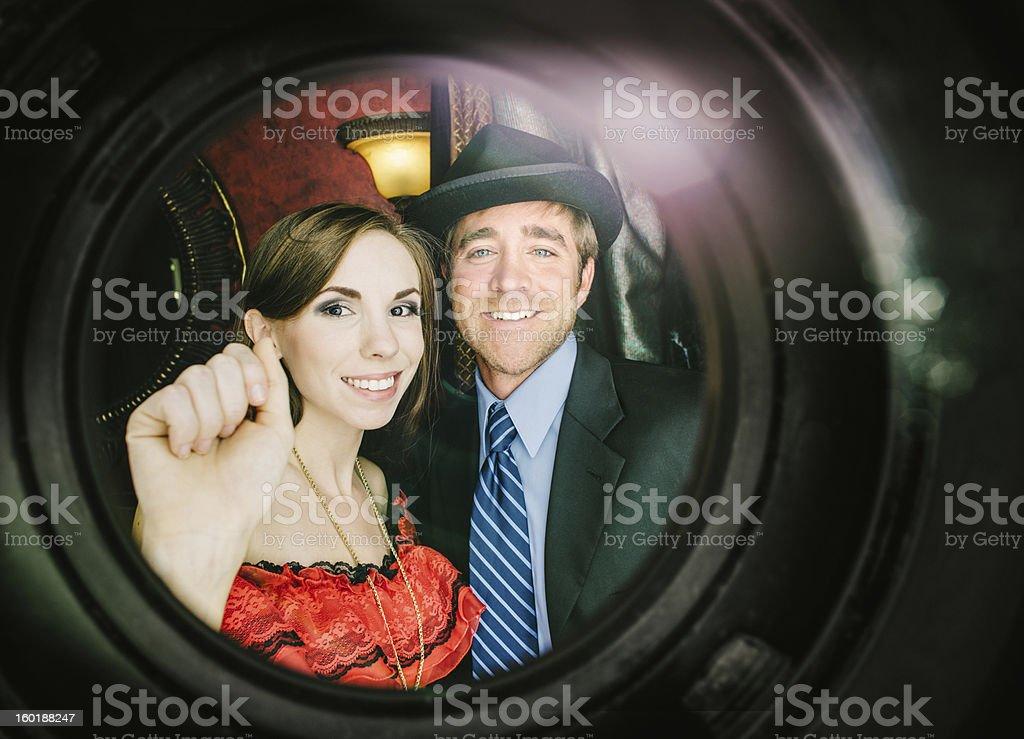 Friends knocking royalty-free stock photo