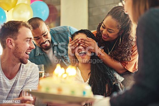 Shot of a young woman celebrating her birthday with her friends