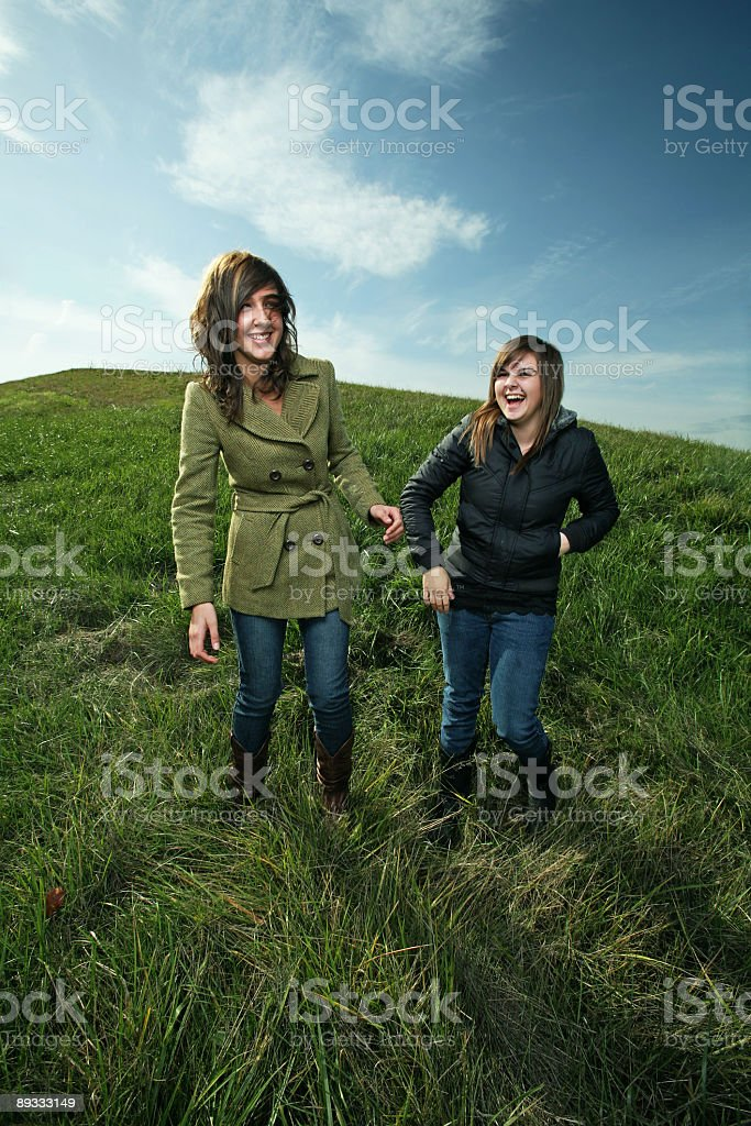 Friends Laughing in Field royalty-free stock photo