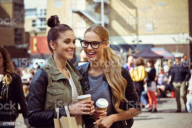 Friends Laughing Outdoors Stock Photo - Download Image Now