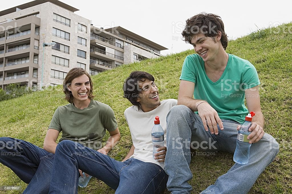 Friends laughing stock photo