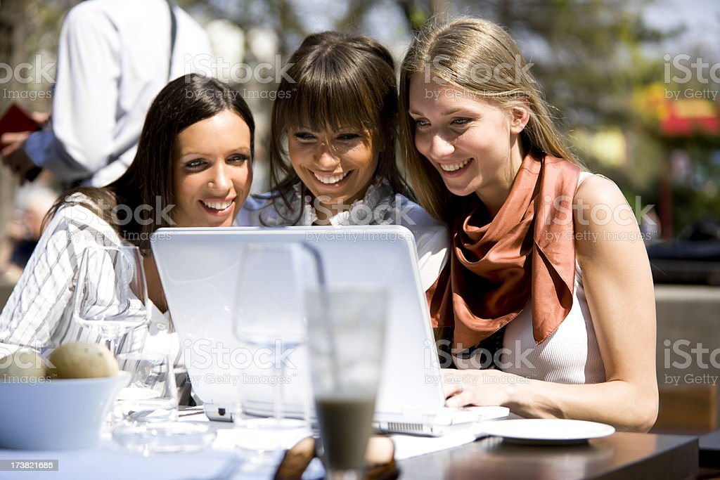 Friends Looking at Laptop royalty-free stock photo