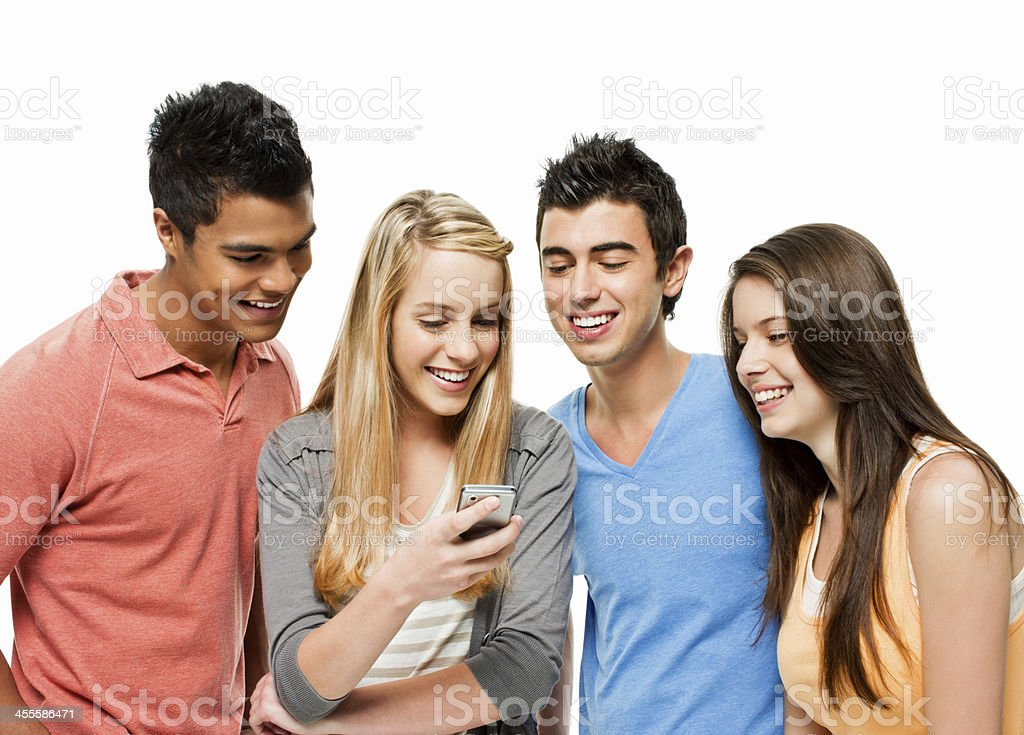 Friends Looking Over a Text Message royalty-free stock photo
