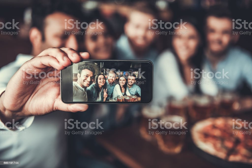 Friends makes selfie stock photo