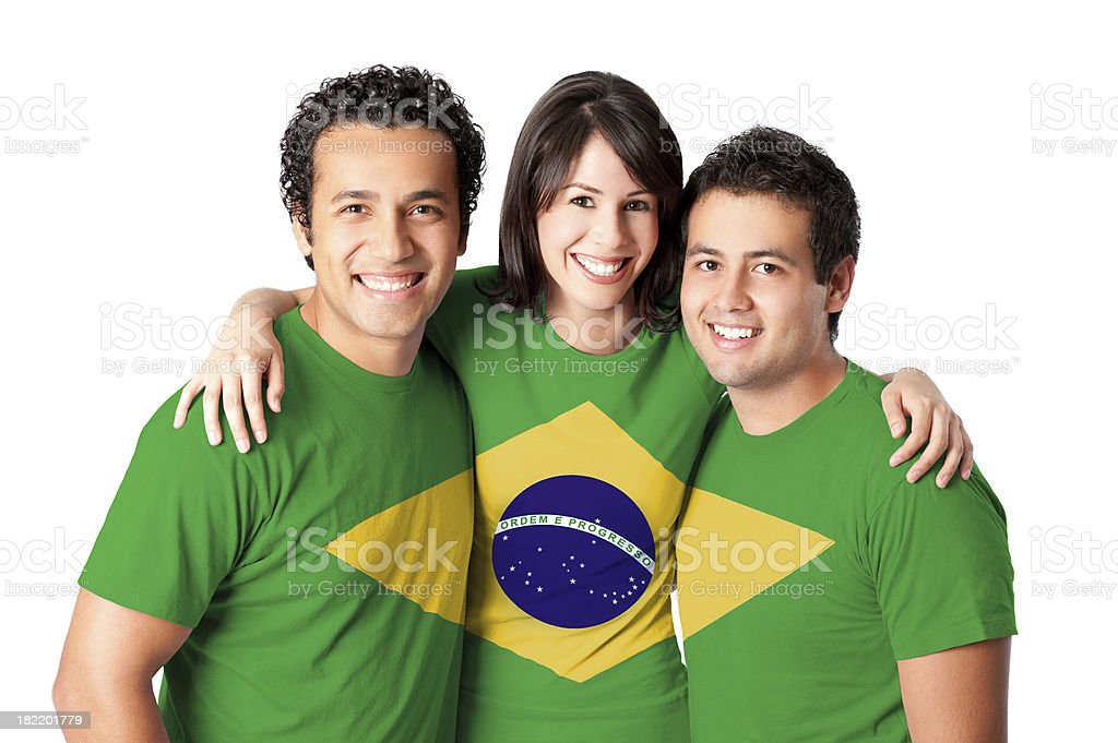 Friends making a Brazilian flag royalty-free stock photo