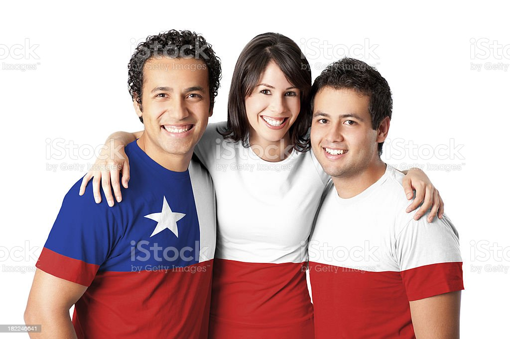 Friends making a Chile flag stock photo
