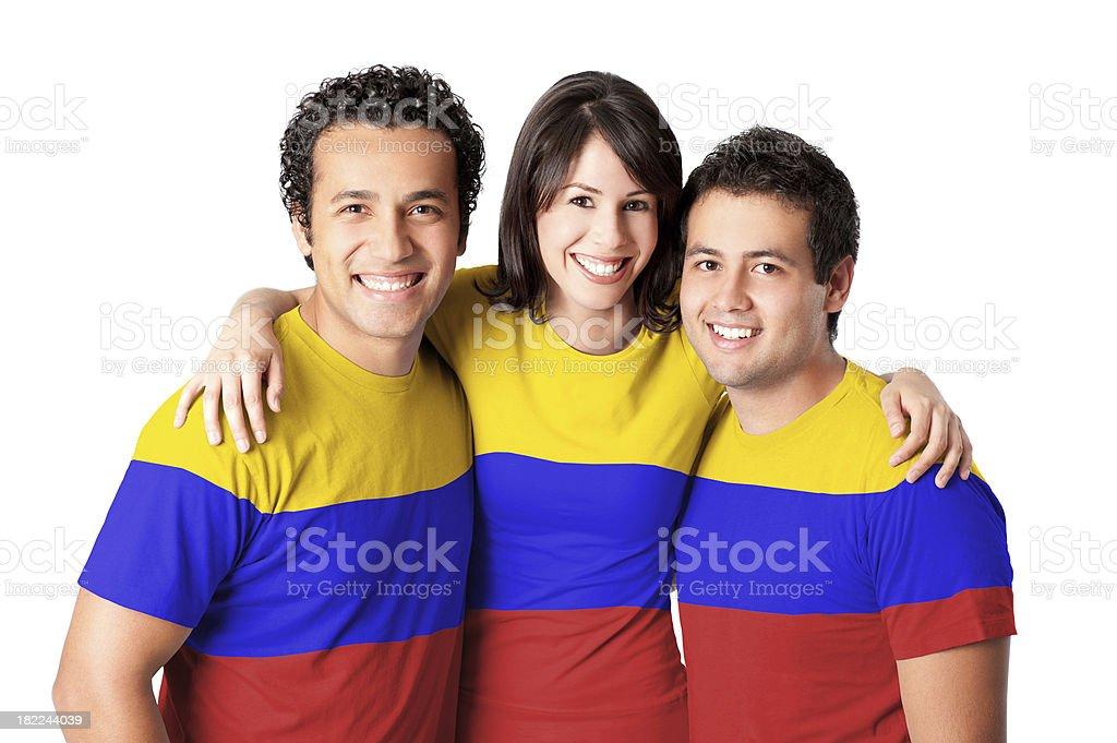 Friends making a Colombian flag stock photo