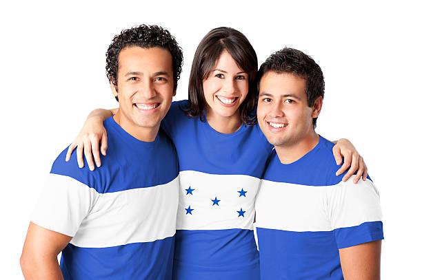 amigos haciendo una bandera hondureño - bandera de honduras fotografías e imágenes de stock