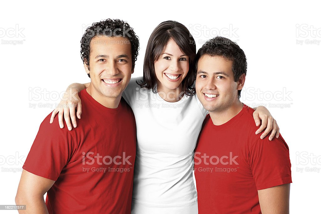 Friends making a Peruvian flag stock photo