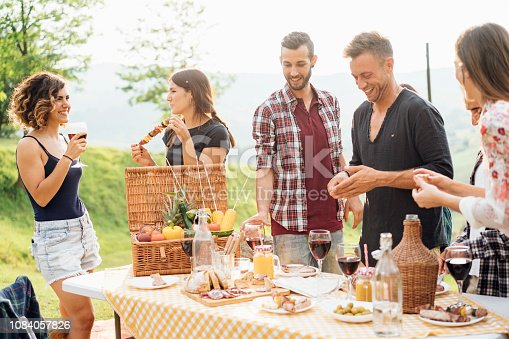 Friends making an aperitif and drinking wine during a barbecue party