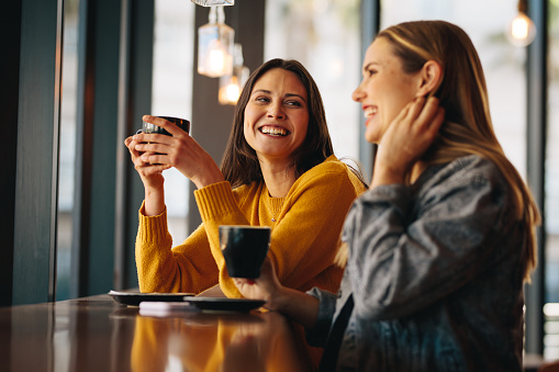 Two female friends sitting at cafe having coffee and gossiping. Female friends meeting in a coffee shop on a weekend.
