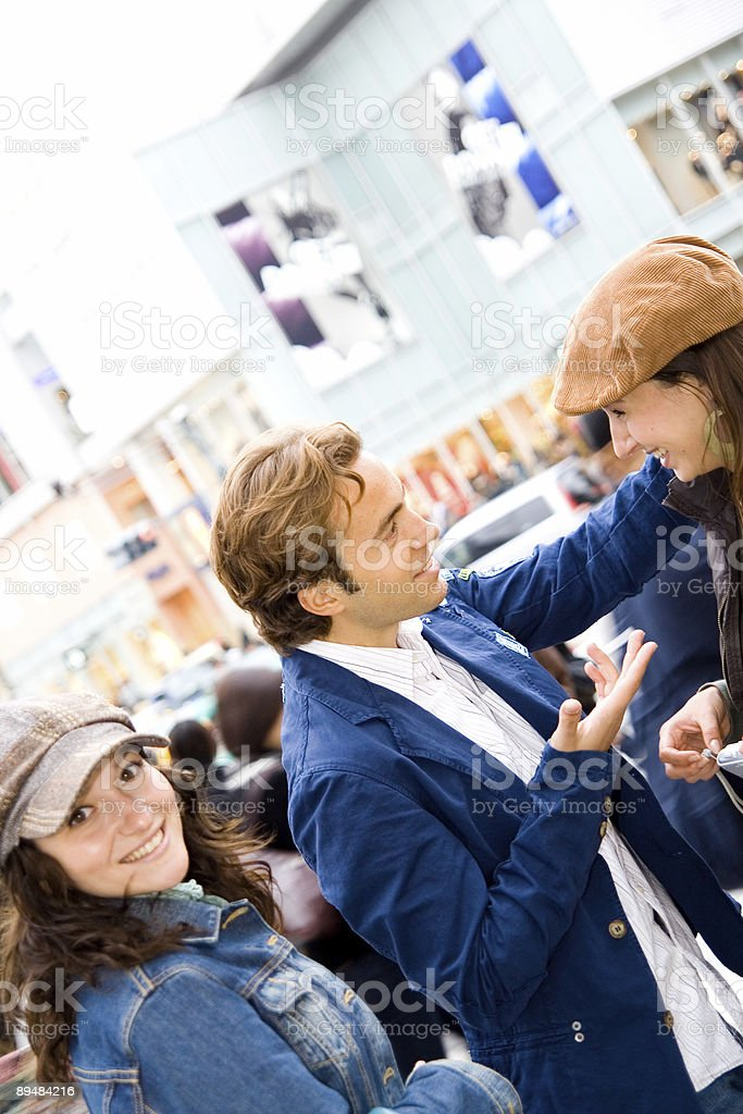 Friends met in the city and talking royalty-free stock photo