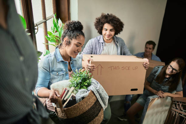 Friends moving stock photo