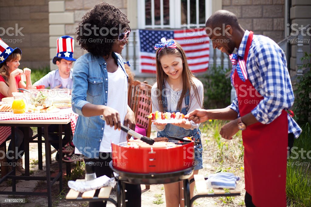 Friends on 4th July stock photo