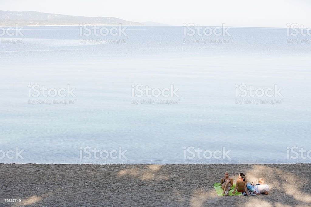 Friends on a beach royalty-free stock photo