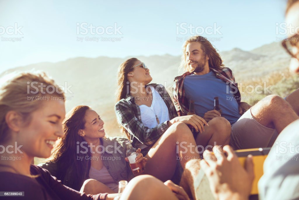 Friends on a roadtrip royalty-free stock photo