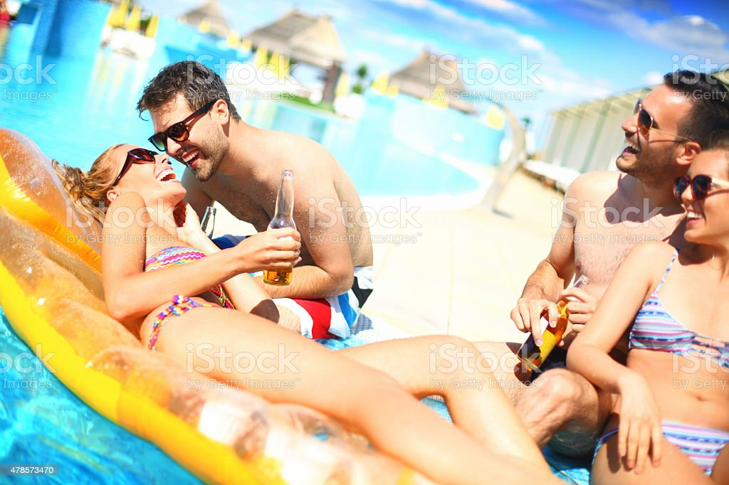 Friends on a vacation. stock photo