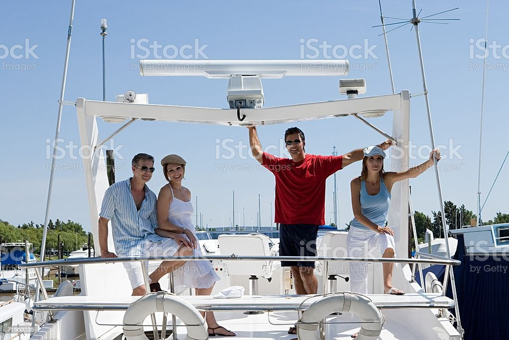 Friends on a yacht royalty-free stock photo
