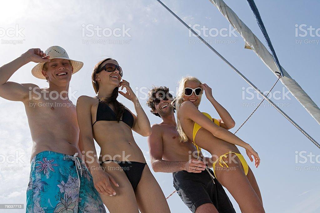 Friends on a yacht 免版稅 stock photo