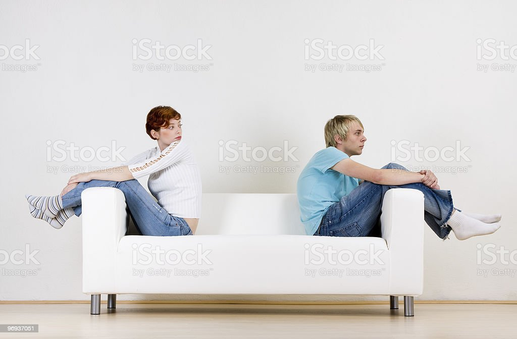 Friends on couch royalty-free stock photo