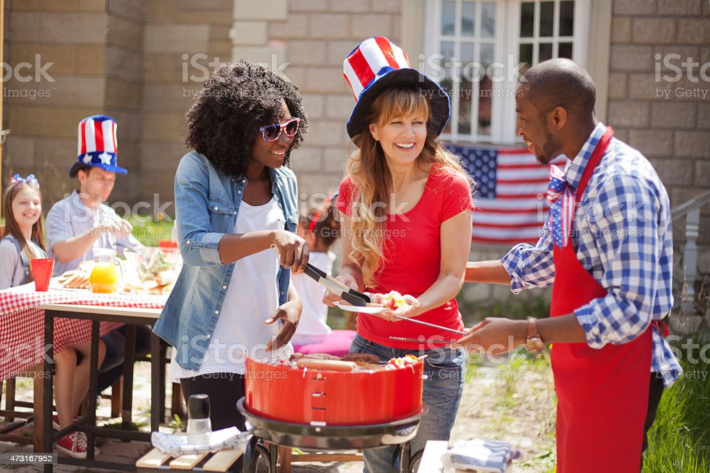 Friends on Independence Day stock photo