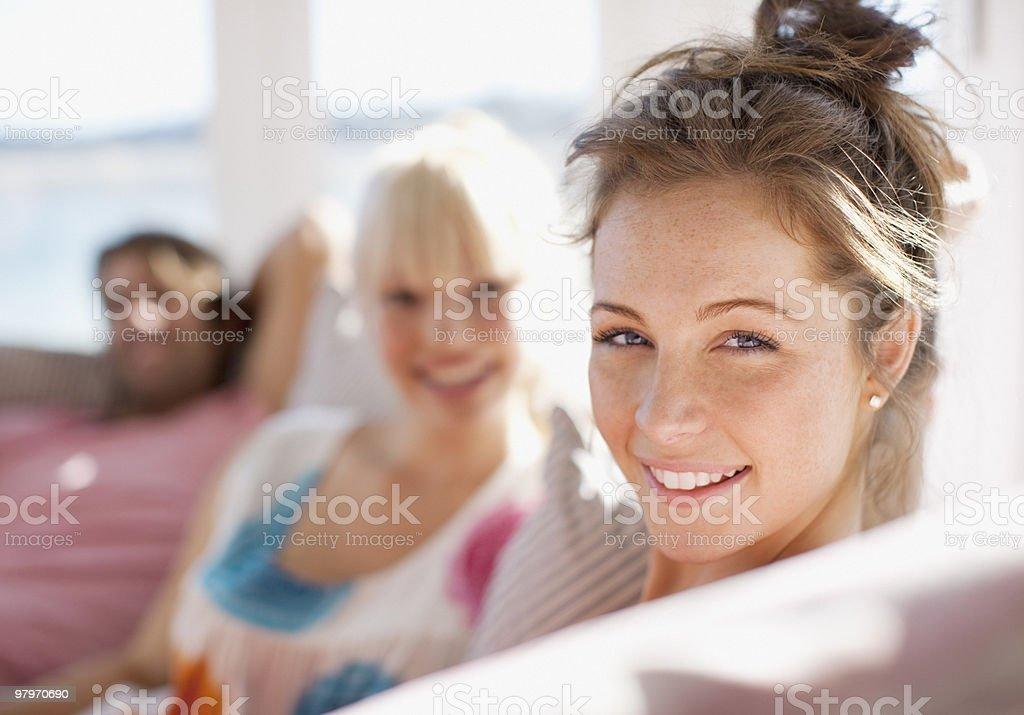Friends on sofa royalty-free stock photo
