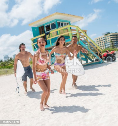 Happy friends enjoying their summer holidays at the beach