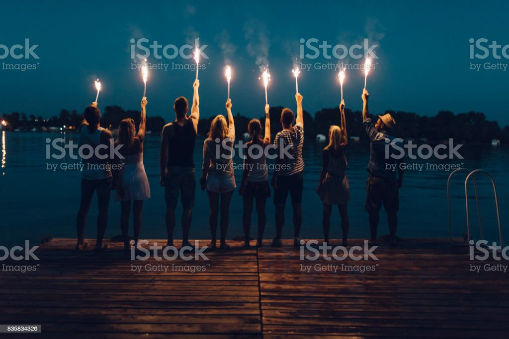 Friends On Summer Party stock photo