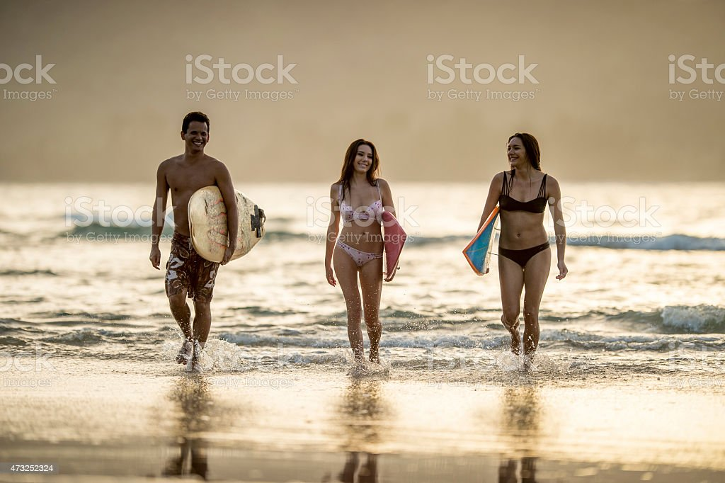 Friends on the Beach stock photo
