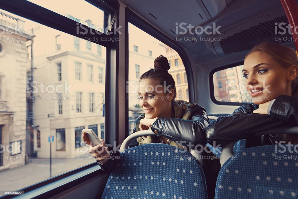 Friends on the public bus royalty-free stock photo