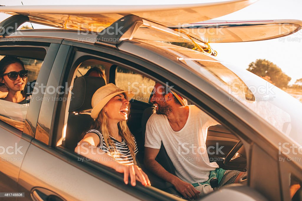 Friends on the road stock photo