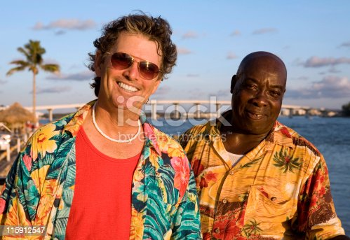 Two friends enjoying a tropical vacation.