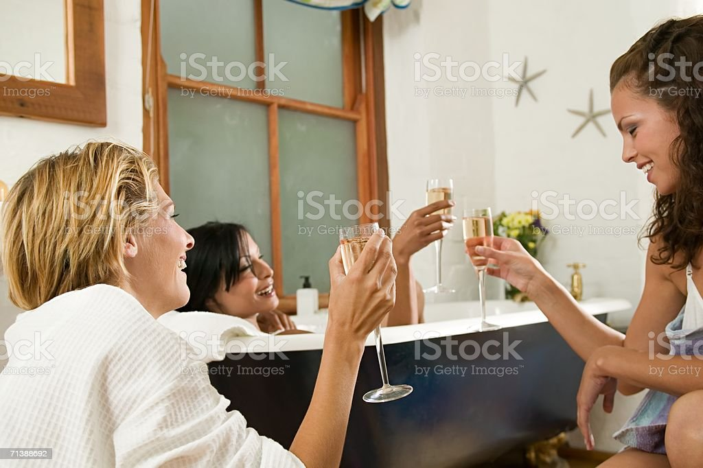 Friends pampering themselves royalty-free stock photo