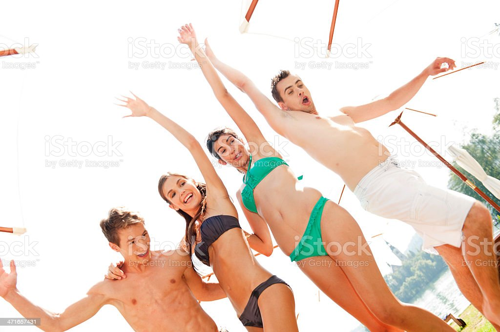 Friends partying in summer vacation royalty-free stock photo