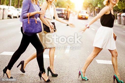 Friends in the street in New York