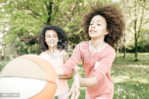 1082195070 istock photo Friends playing basketball 860721662
